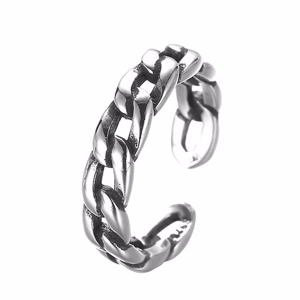 Kinitial Vintage Twist Chain Retro Rings For Women Open-end Ring With Cuban Chain Ring Fashion Finger Jewelry anillos