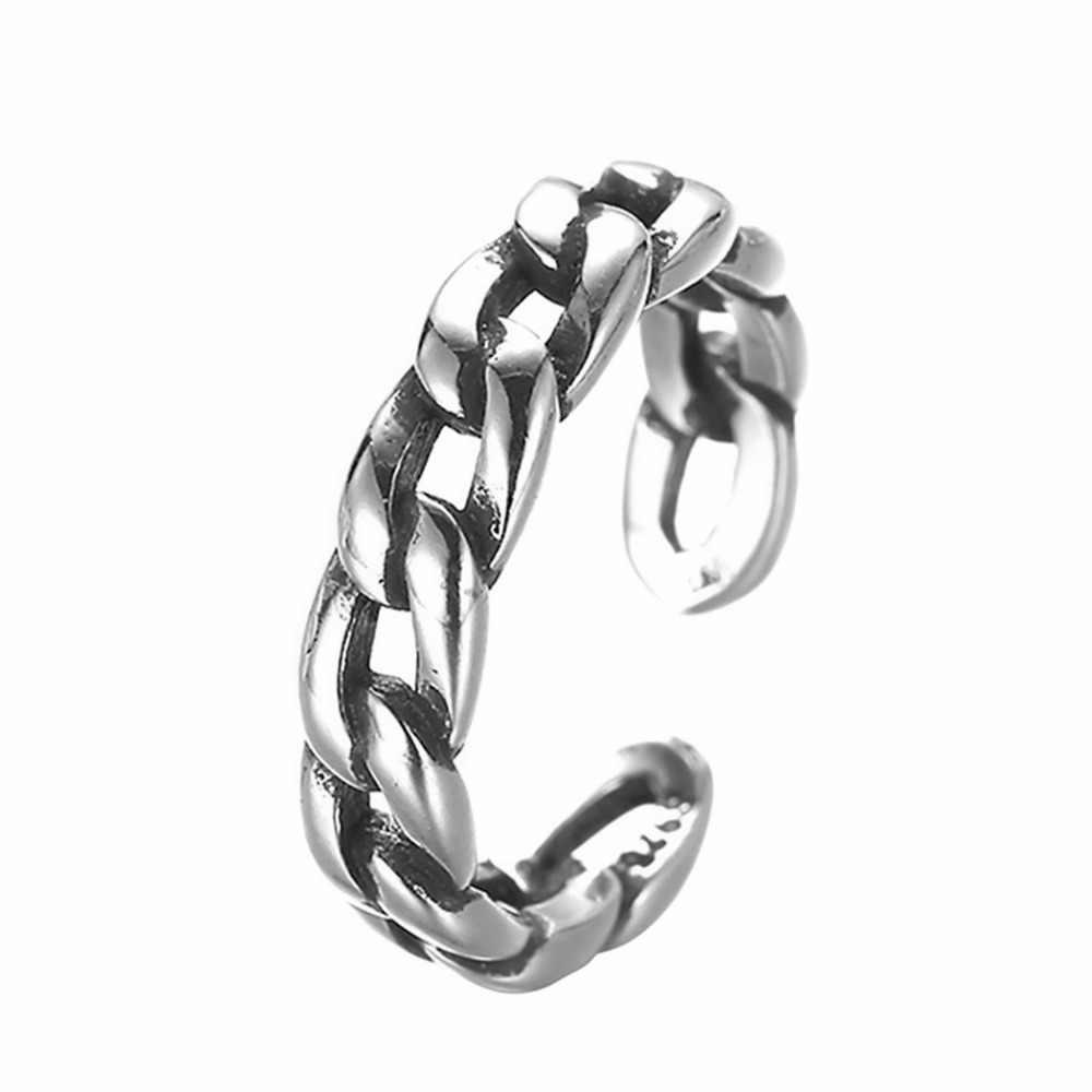 Kinitial בציר טוויסט שרשרת רטרו טבעות לנשים פתוח-סוף טבעת עם קובני שרשרת טבעת אצבע אופנה תכשיטי anillos