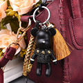 Cartoon Doll Rhinestone Bear keychain With Tassel And Leather Strap Key Ring Hanging Charm Pendant ornaments key holder gift