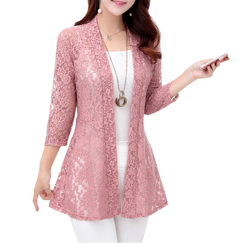 Women Lady Hollow Lace Blouse Summer Cardigan Blouse Sunscreen Shirt S-XL