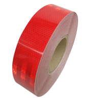 5CM*45M Reflective Tape Safety Warning Sign Body Stickers PET Red Lattice Strips Adhesive Wear resistant Waterproof