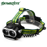 SKYWOLFEYE LED Headlamp 8000LM Cree XML T6 3 Modes 2X LED Headlight Rechargeable 18650 Battery