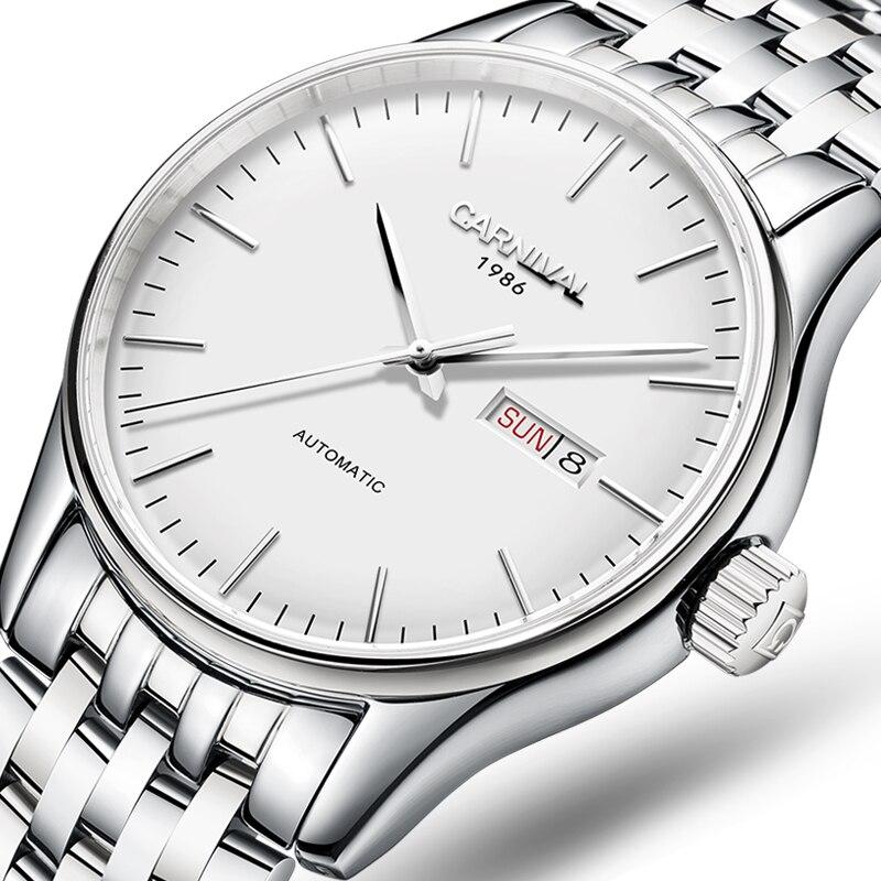 a1bca2333f3 Carnaval relógio dos homens Relógios de Marca suíça de luxo Homens  Automático Mecânico reloj hombre Relógio Luminoso Sapphire C-8612G-7