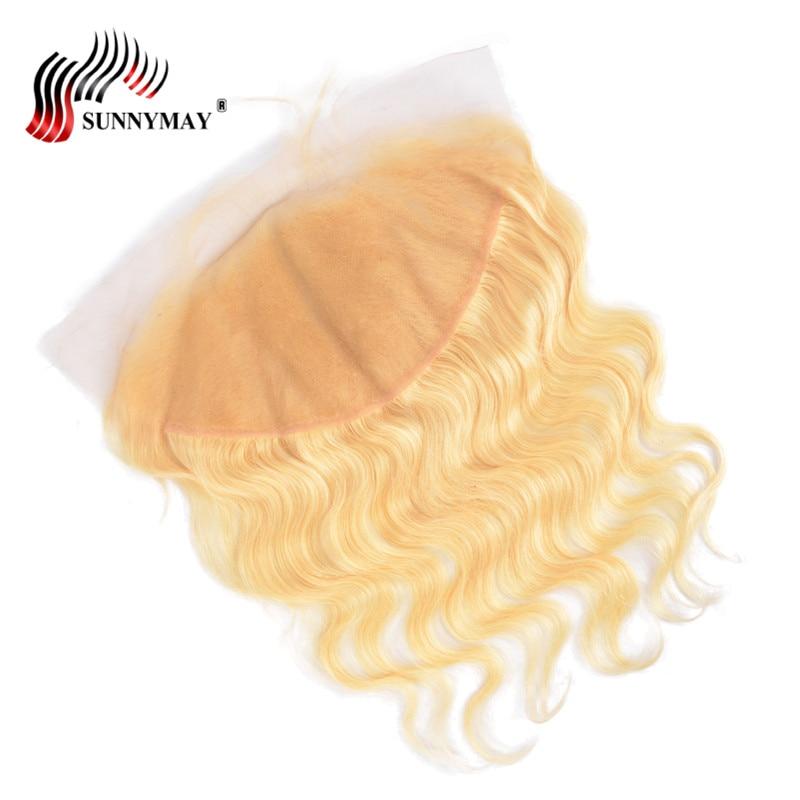 Sunnymay 13x6 Blond Snörning Frontal Closure 613 Färg Brasiliansk - Mänskligt hår (svart) - Foto 5
