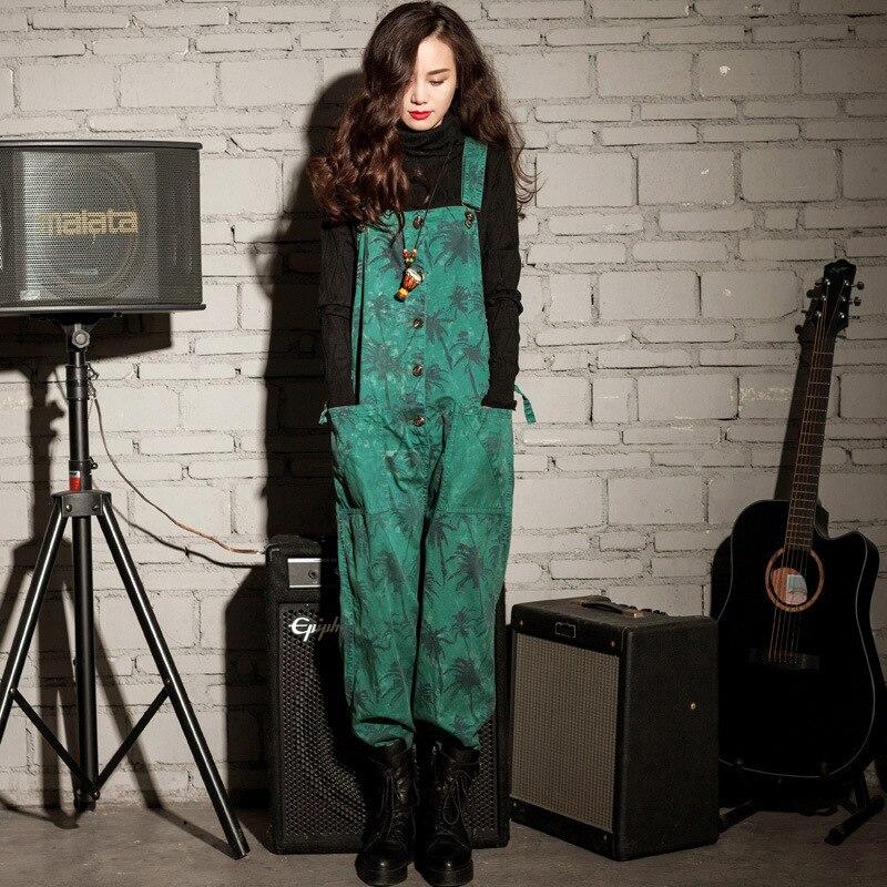 Mode Jeans femmes combinaison vert Denim barboteuse salopette pantalon décontracté sarouel basique Denim pantalon large jambe barboteuses femme