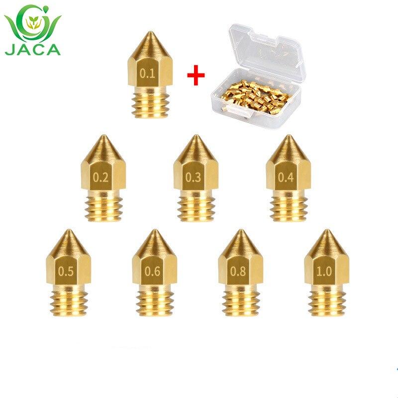5PCS Mk8 Brass Nozzle 3d Printer Accessories 0.1mm 0.2mm0.3mm 0.4mm 0.5mm 0.6mm Head For 1.75mm Mk8 Pointed Brass Nozzle