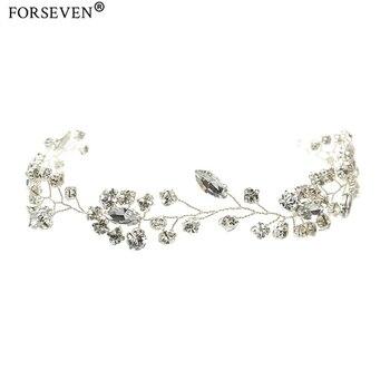 Hermosas diademas de cristal hechas a mano para mujeres joyería para el cabello adornos para el pelo de la frente banda de seda accesorios de boda para el cabello