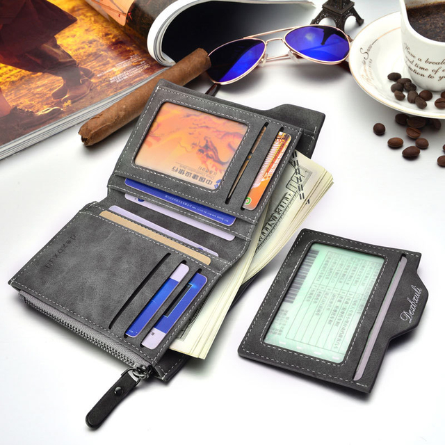 Soft Leather wallet with removable card slots multifunction wallet