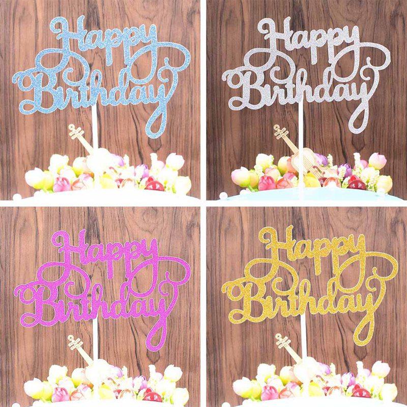 Happy Birthday Cake Topper Creative Dessert Decorations Children Kids Baby Boy Girl Adult Party Decoration Supplies