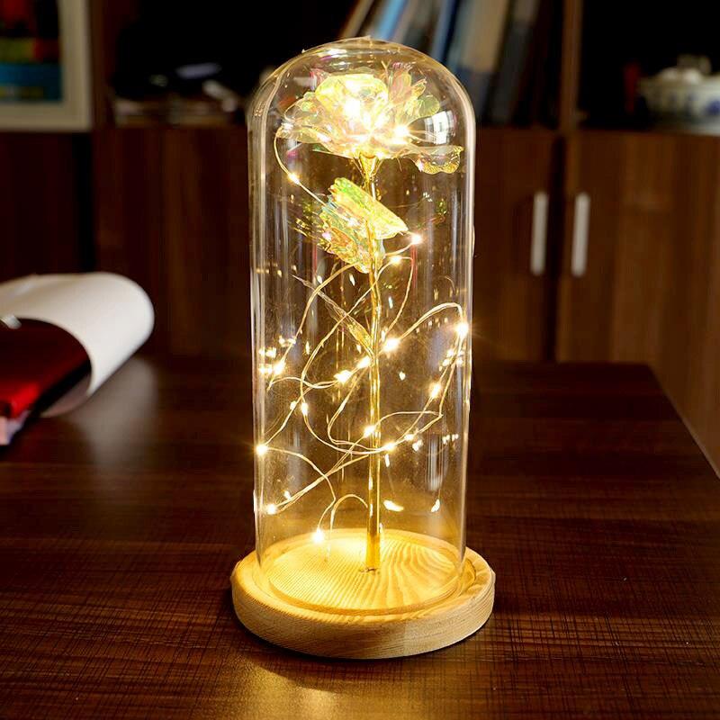 Dolce Rosa Ha Condotto La Luce Filo Di Rame Luce Di Cupola Di Vetro Lampada Di Notte Micro Paesaggio Dc120 Bello E Affascinante