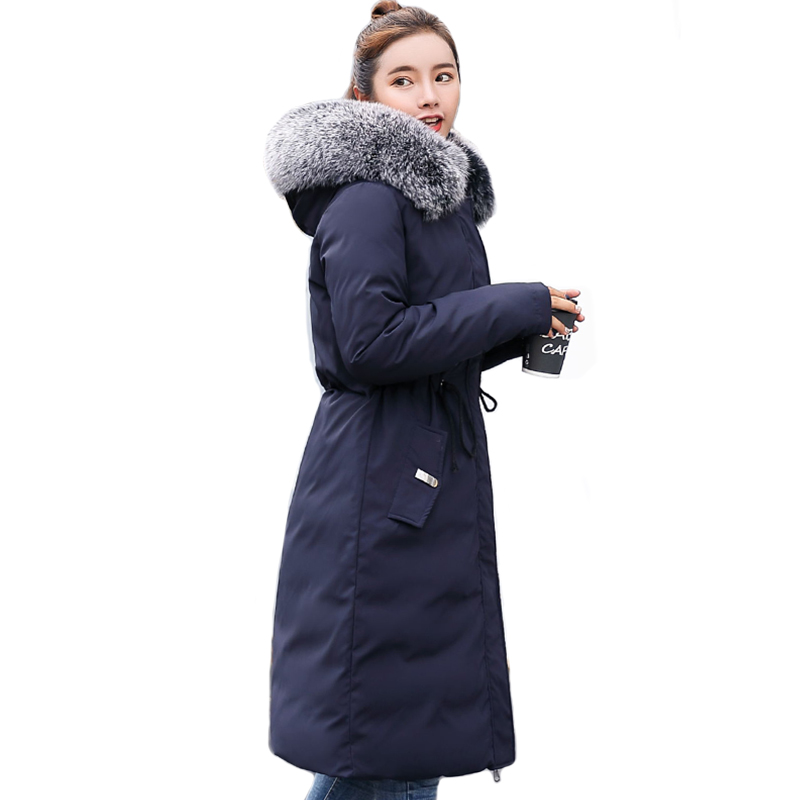 2019 Double 2 side Women Winter Jacket Hooded With Fur Long Female   Down     Coat   High Quality Womens Parka Warm