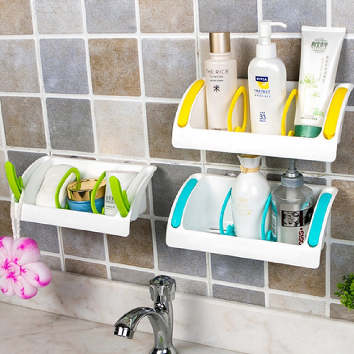 Multifunction Kitchen Suction Cup Storage Shelf Bathroom Plastic ...