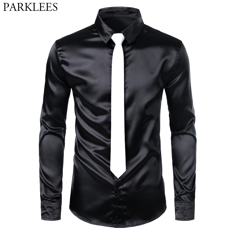 Men's Black Slim Fit Silk Shirt With White Tie 2019 Brand New Long Sleeve Smooth Men Tuxedo Shirt For Club Party Wedding Chemise