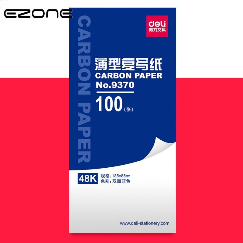EZONE 100PCS Carbon Paper Double-sided Blue Carbon Paper Copier Stencil Transfer Paper School Office Stationery 18.5*8.5cm