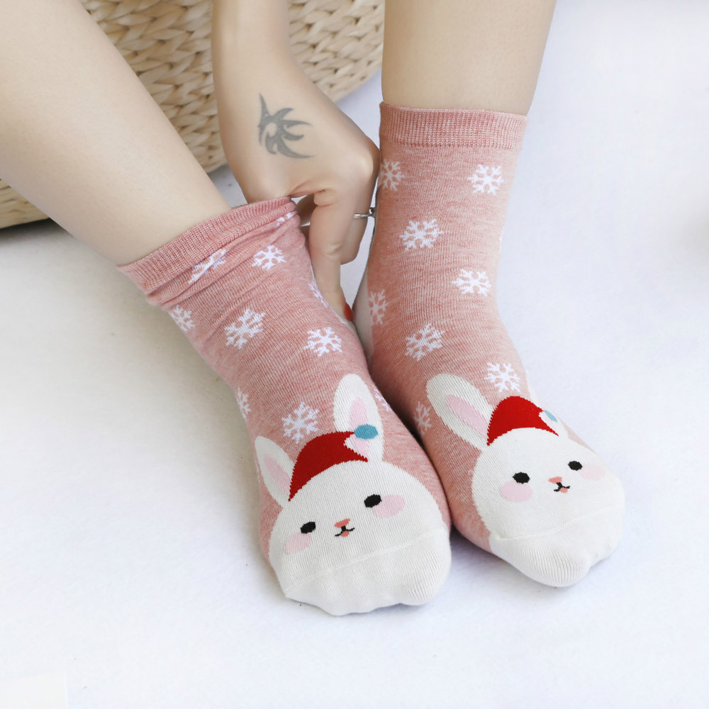 2019 1pair Winter Christmas Women Casual Mid-calf Socks Year-end Celebration Socks Cute Unisex Socks Comfortable Soxs Gift  #VD7
