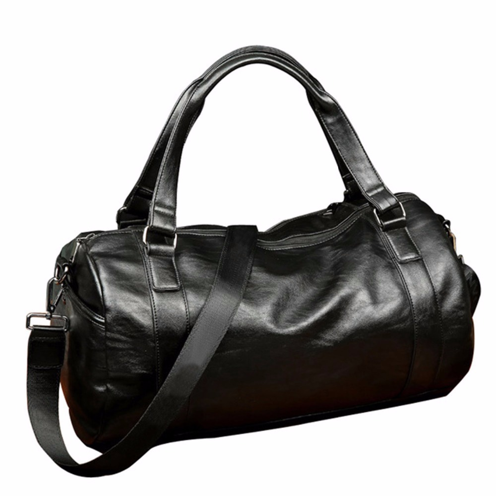 GYKZ 2018 Leather Travel Duffel Bag For Men Outdoor Multifunction Sports Training Gym Bag Male Fitness Shoulder Bag Large HY009 temena large capacity outdoor sports bag for men new brand pu tote duffel bag multifunction travel sports gym fitness bag ac12
