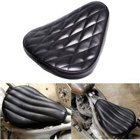 Black Motorcycle Diamond Leather SOLO Saddle Seat For Harley Chopper Custom Bobber