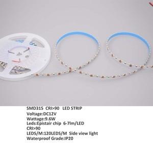 10m/lot CRI90,Side view 315 LED strips 120leds/m,9.6w,DC12V,5000-6000k for advertising light box