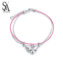 SA SILVERAGE 925 Sterling Silver Anklets For Women Pink Leather Heart Butterfly Charms Pure Silver 925 Jewelry Anklets Gift 2017