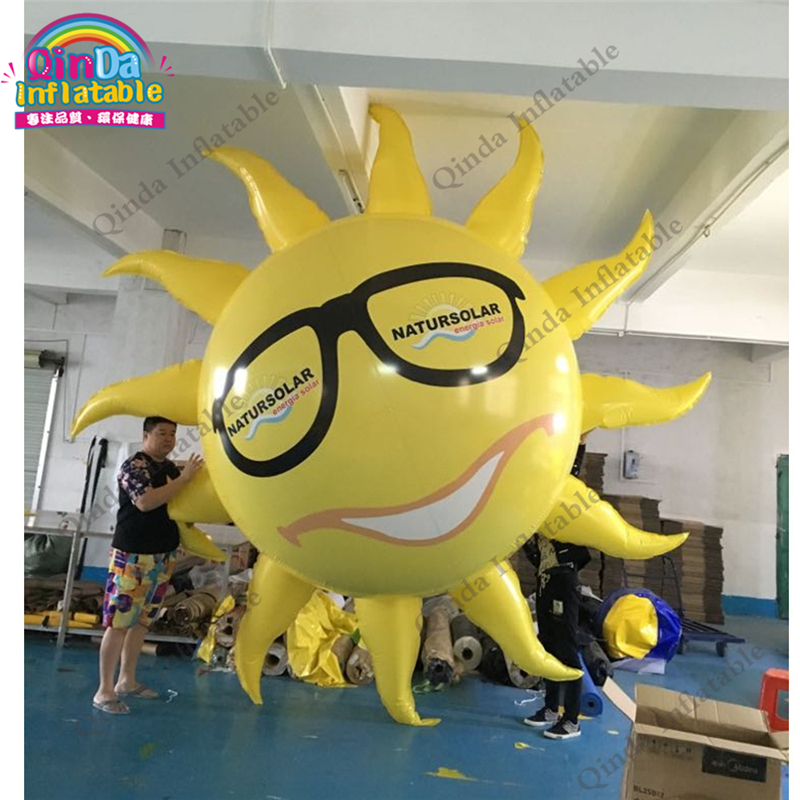 3 Meters Inflatable Advertising Helium Blimps Flying Sun Shape Style Airship Ballon For Sale