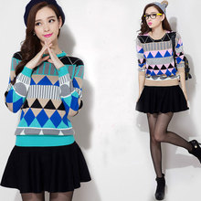 High quality autumn winter fashion contrasted colors plaid lady girls crewneck thick sweater
