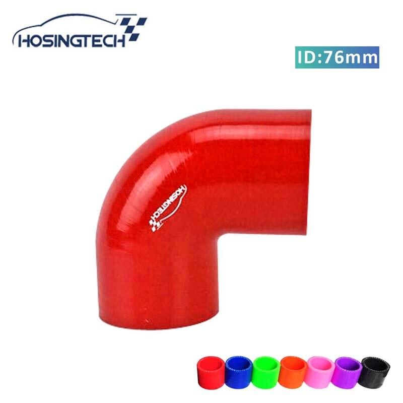 HOSINGTECH-brand quality factory price 76mm 3 red 90degree flexible automotive silicone turbo hose