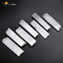 Sunligoo Irregular Selenite Crystal Stick Wand Polishing Stone Reiki Healing Energy Infused Tray Pedestal 6-10pcs