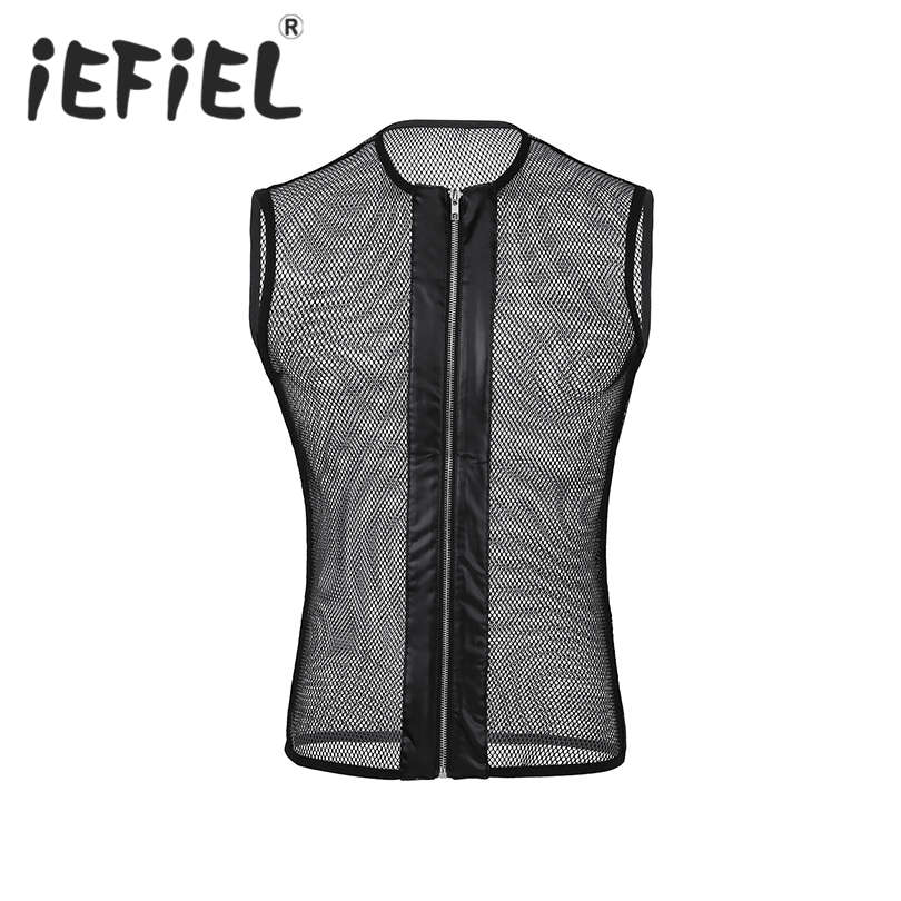 Fashion Adults Male Mens Sleeveless O-neck See-through Mesh Fishnet Zipper Muscle T-Shirt for Club Wear Party Cosplay Costumes