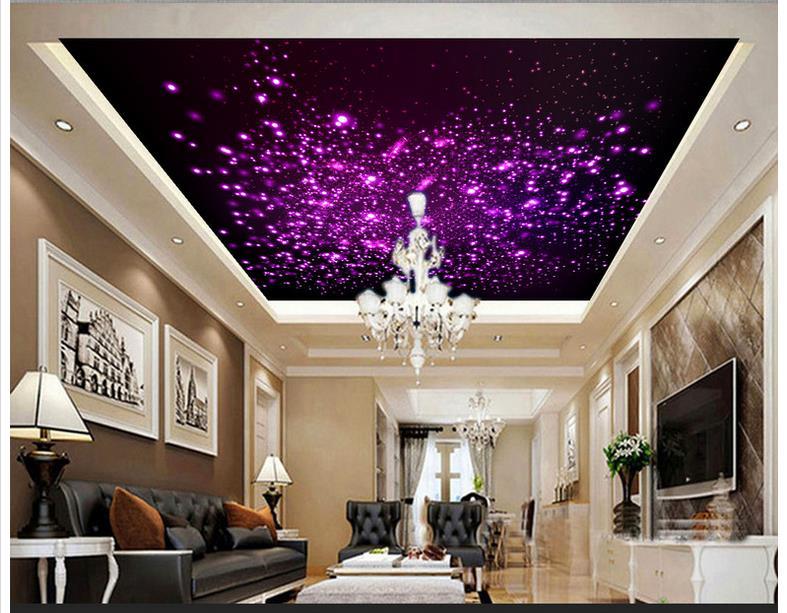 Custom 3d Wallpaper 3d Ceiling Murals Wallpaper Dazzle Light Purple Dream  Zenith Ceiling Frescoes 3d Living