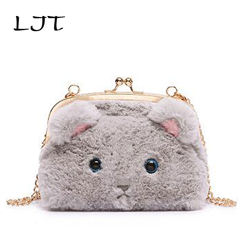 bdc71d203b LJT Chain Plush Bag Cartoon Cat Clip Bag Lady Cute Mini Crossbody Shoulder  Bag for Girls Evening Party Clutch Bag bolsa feminina-in Shoulder Bags from  ...