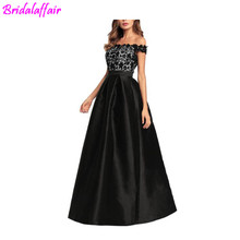 China Suppliers Wholesale Satin Drill Lace Splicing Off Shoulder Black Long Gowns Evening Dresses formal evening dresses