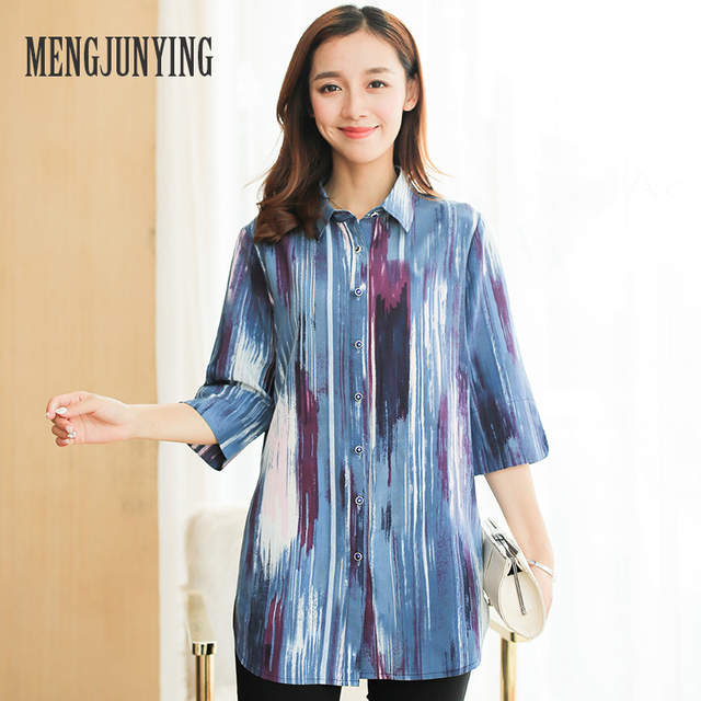 MENGJUNYING 2017 fashion Blue Blouses Women Plus Size Half sleeve V-Neck Slim Blouse Office Work Wear shirts Tops Blusas 733