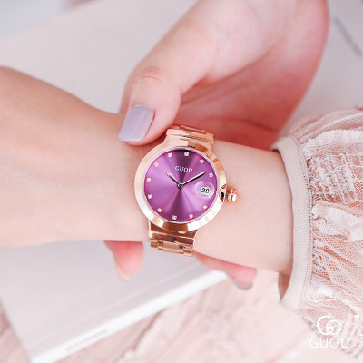 GUOU Watch Women fashion luxury watch Stainless Steel Quality Rose Gold Ladies Quartz Watch Women Rhinestone Watches Reloj Mujer luxury pear shell dial ladies watches fashion green quartz women watch rose gold milan mesh belt waterproof watch reloj mujer