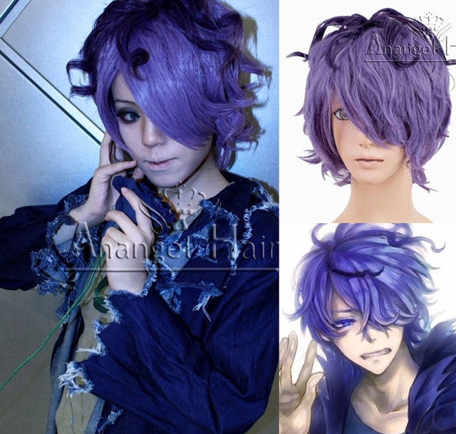 free hair cap   ib garry short curly purple mixed anime halloween party men cosplay wig costume