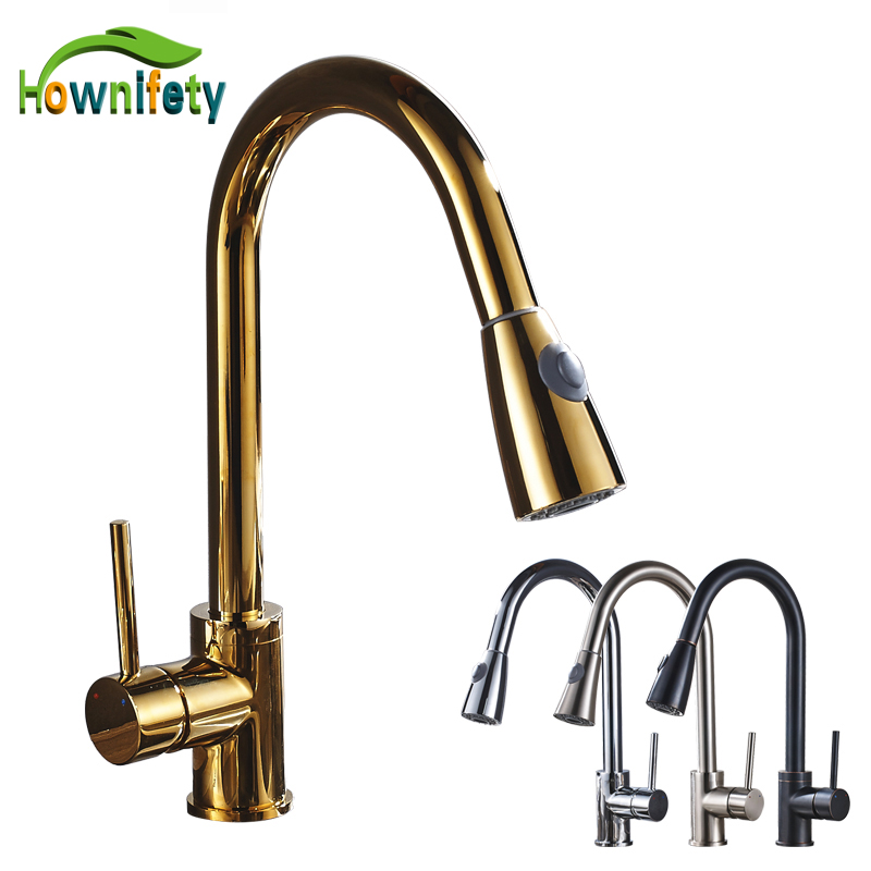 Solid Brass Pull Down Kitchen Sink Faucet 360 Degree Rotating Hot & Cold Water Countertop Mixer Tap everso solid brass kitchen faucet double spouts 360 degree