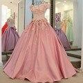 Venda quente Rosa de Cetim A Linha de Vestidos Quinceanera 2017 Querida Apliques de Lantejoulas Frisada Lace Up Voltar Trem Da Varredura Vestidos de Meninas