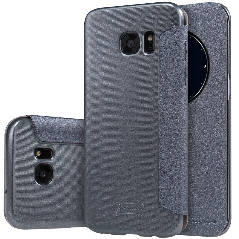 NILLKIN Luxury Brand Sparkle Ultrathin leather Flip case For Samsung Galaxy S7 Edge Big View Window