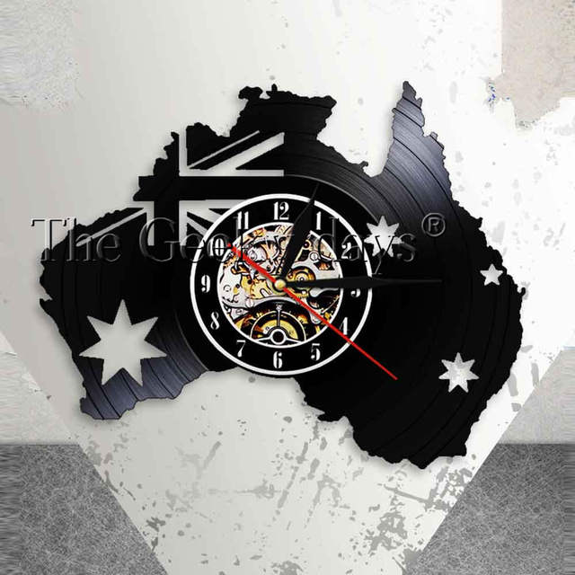 Australia Patriotic Wall Clock AU Home Decor Map Of Flag Queensland Perth Canberra Melbourne Vinyl Record