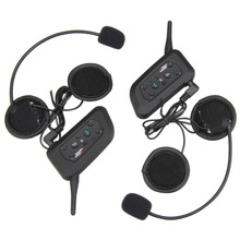 1 Pair V6-1200 Bluetooth Intercom BT Multi Interphone Motorcycle Wireless Headphones Accessories 1200M Helmet Headset 6 Riders