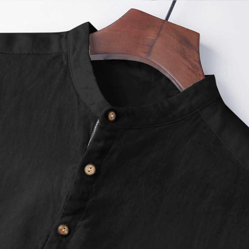 男性のシャツトップスシュミーズ夏バギ綿リネン半袖ボタンプラスサイズトップス男性 camisas デ hombre