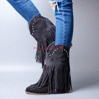 Choudory/Botines mujer; вельветовые ботинки «Челси» из натуральной кожи; Цвет черный, синий; высокие сапоги с бахромой; ковбойские кожаные ботинки; жен