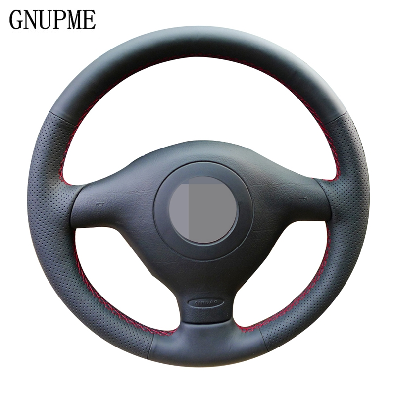 Artificial Leather Black Steering Wheel Cover for Volkswagen VW Golf 4 Passat B5 1996-2003 Seat Leon 1999-2004 Polo 1999-2002(China)