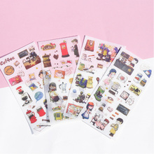 6 pcs/pack Cute Coffee time Decorative Washi Stickers Adhesive DIY Decoration Diary Stationery Album Sticker