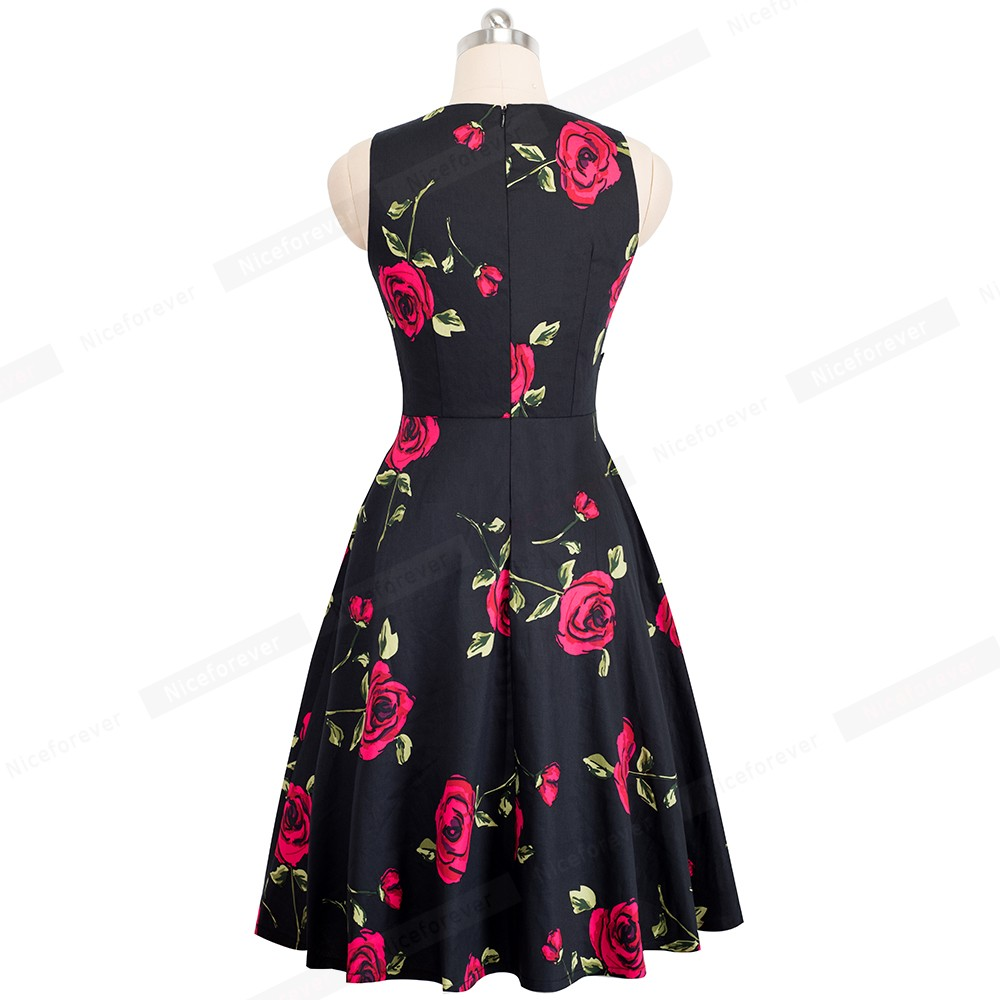 Nice-forever Vintage Elegant Embroidery Floral Lace Patchwork vestidos A-Line Pinup Business Women Party Flare Swing Dress A079 138