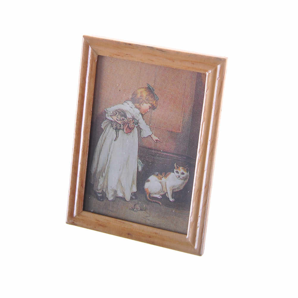 1PC Mini Retro Photo Frame Image Wooden Doll House Picture Wall Painting 1:12 Dollhouse Miniatures Furniture Toy