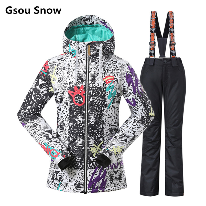 Gsou Snow Ski Suit Women Winter Snowboard Suits Waterproof Female Jackets Breathbale Pants -30 Degree Coat