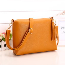 New Women Cross Body Bag PU Leather Shoulder Bag Tassel Shell Lady Messenger Bags