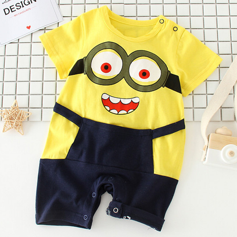 Baby boy girls minions newborn summer Cotton cartoon halloween Jumpsuit toddler costume ...