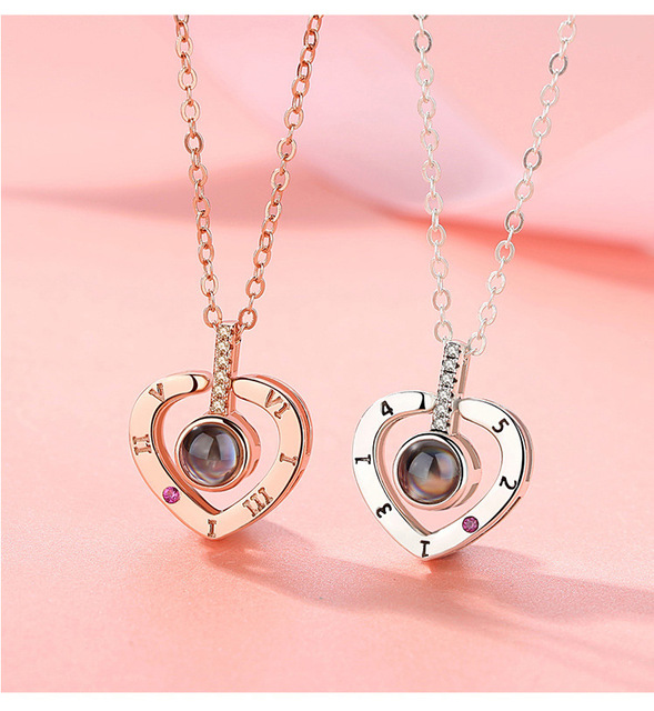 Romantic Love Memory Wedding Necklace Rose Gold&Silver 100 languages I love you Projection Pendant Necklace 2