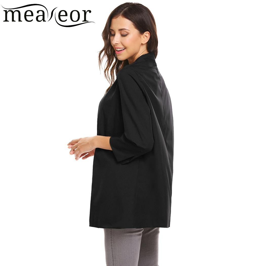 Meaneor Women 3/4 Sleeve Open Front Lightweight Casual Solid ...